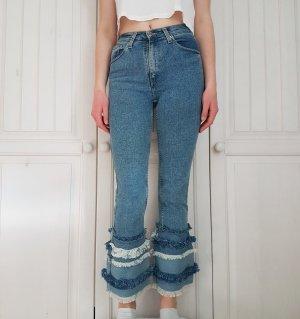 True Vintage Röhren jeans hose Röhrenjeans Röhrenhose Mom Momjeans Highwaist high waist Fransen