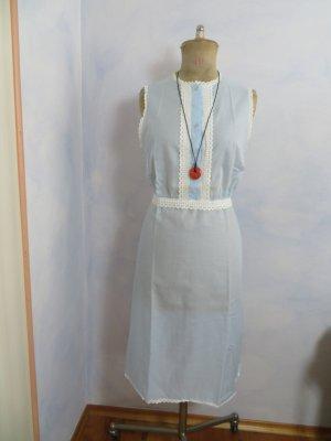 VINTAGE  70er Robe Hippie bleu azur-blanc tissu mixte