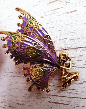 True Vintage Schmetterling Fee Emaille Brosche in Bronze