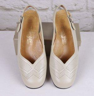 True Vintage Sling Back Pumps Leder Federgang Größe 5 38 Offwhite Creme Sandaletten Hochzeit Brautschuhe