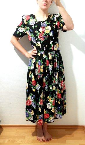 True Vintage Sommerkleid 100% Viskose Gr. 38 Rückenfrei Blumen Rosen Floral
