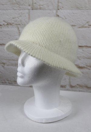 Vintage Cappello di lana bianco sporco-beige chiaro Tessuto misto