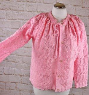 True Vintage Strickjacke Cardigan Bettjacke Größe Rosa Häkeljacke Muschel Muster Strick Cape