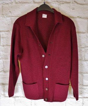 True Vintage Strickjacke Cardigan Größe L 42 Bordeaux Rot Weinrot Strick Kammgarn Wolle Jacke Pullover Winter