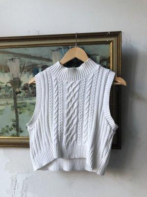 Vintage Top con colletto arrotolato bianco