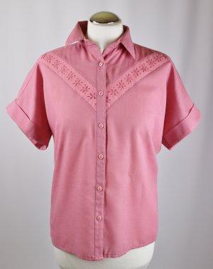 True Vintage Süße Kurzarm Bluse Größe M 38/40 Spitzenborte Altrosa Rosa Beere Leinenoptik Lochstickerei Shabby Western Blogger Look