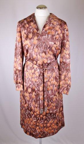 True Vintage Tageskleid Midi Kleid Star Größe 36 38 Hemdblusenkleid Tulpen Braun Koralle Beige 40er Blumen V Neck Gürtel