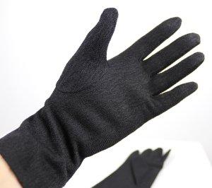 True Vintage Textil Handschuhe Größe 6,5 Schwarz Stretch Struktur Gloves