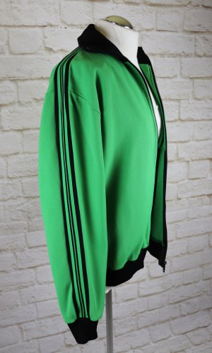 True Vintage Trainingsjacke Jacke Heinig26 Größe 40 Grün Schwarz Streifen Trikot Sport Übergangsjacke