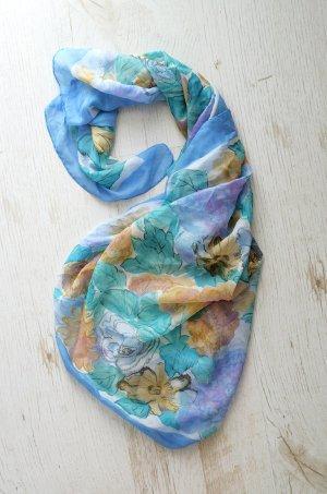 True Vintage Tuch Halstuch Haartuch Kopftuch Floral Preppy Semitransparent Aquarell