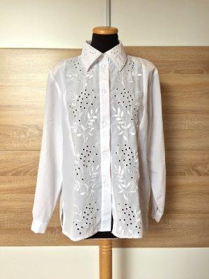 True Vintage weiße Lochmuster Bluse mit Stickerei, Gr. M