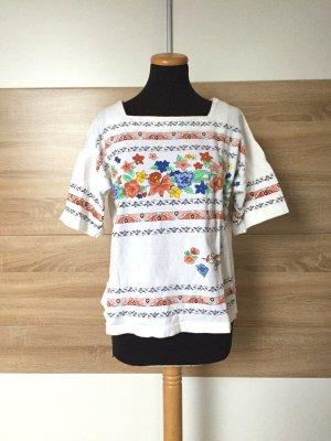 True Vintage weißes Baumwolle Blumen Shirt, Bluse, Gr. M