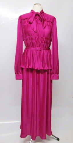 True Vintage Zweiteiliges Kostüm Plissee Geraldine London Größe 42 44 XL Fuchsia Lila Pink Schluppe Bluse Gürtel Maxirock Schluppenbluse Rarität Maxikleid Kleid Rock