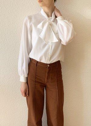 Vintage Blusa collo a cravatta bianco