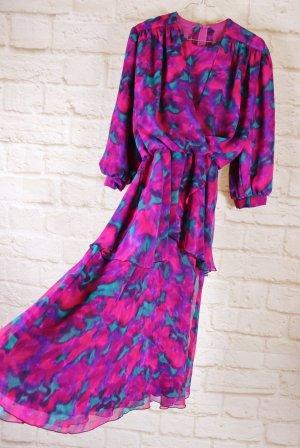Vintage Sukienka z baskinką Wielokolorowy