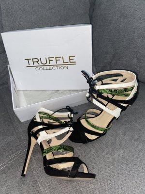 Truffle Collection High Heeled Sandals Sandaletten Schwarz Weiß Grün Gr. 40 Snakeprint Schlangenmuster
