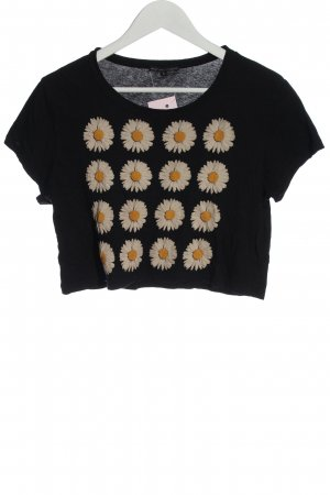 Truly Madly Deeply Camicia cropped nero motivo floreale stile casual