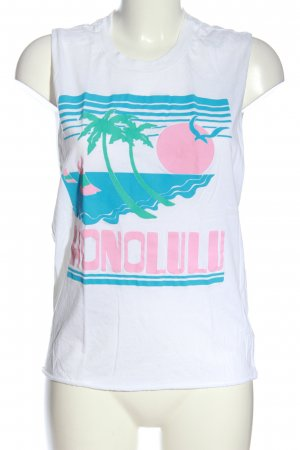 Truly Madly Deeply Cut Out Top white-blue themed print casual look