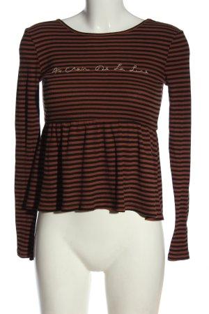 Truly Madly Deeply Maglietta a righe marrone-nero motivo a righe stile casual