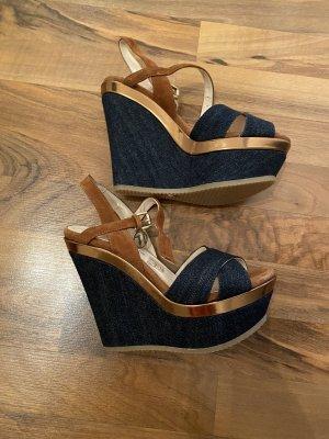 Trussardi Jeans Plateauzool Sandalen met Hoge Hakken donkerblauw