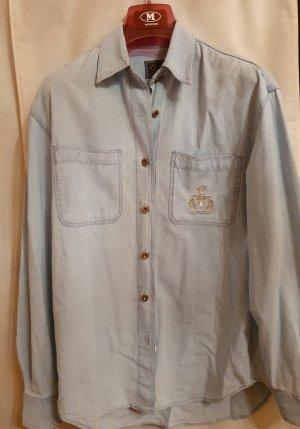 Trussardi Jeans Hemd Jacke Gr S blau hellblau Logo Stickerei silber