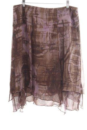 Trussardi Jeans Seidenrock bronzefarben-lila abstraktes Muster