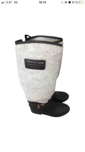 Trussardi Jeans Gumowe buty ciemnobrązowy-w kolorze białej wełny