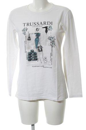 Trussardi Longsleeve weiß-schwarz Motivdruck Casual-Look