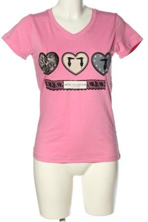 Trussardi T-Shirt pink-schwarz Motivdruck Casual-Look