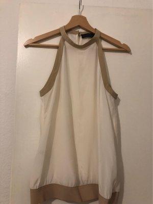 Tru Trussardi Top z dekoltem typu halter jasnobeżowy-kremowy