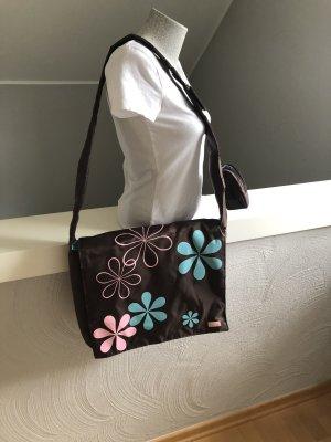 Laptop bag dark brown-pink