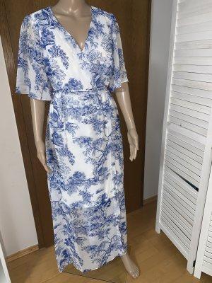 Robe portefeuille blanc-bleu polyester