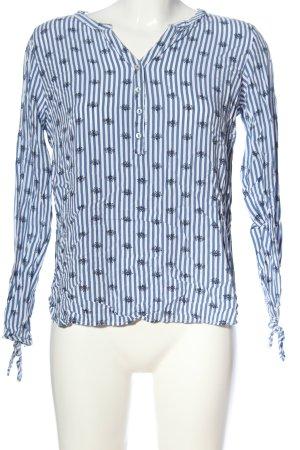 Tschibo Hemd-Bluse blau-weiß Allover-Druck Business-Look