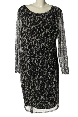 Tschibo Langarmkleid schwarz-wollweiß abstraktes Muster Casual-Look