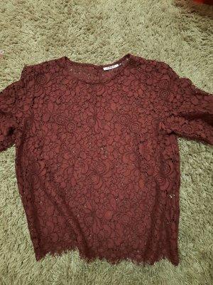 Only Sukienka o kroju koszulki brązowo-czerwony-czerwona jeżyna