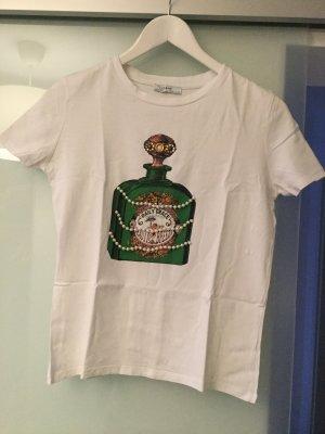 Zara Camiseta estampada blanco-verde bosque