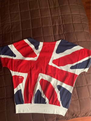 Batik shirt donkerblauw-rood