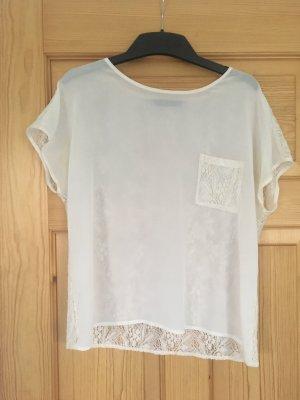 Tshirt Bluse Top von Zara weiß Spitzenbluse Grösse L weiß