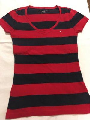 Tommy Hilfiger Camisa con cuello V azul oscuro-rojo ladrillo