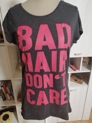 Shirt met print donkergrijs-framboosrood