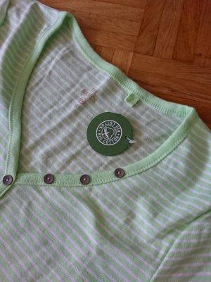C&A Koszulka z dekoltem w kształcie litery V biały-bladozielony Bawełna