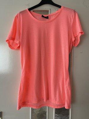 Top de seda rosa-rosa neón