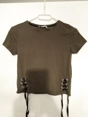 Tshirt khaki mit Schnüren cropped xs