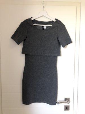 TShirt Kleid Grau Mini figurbetont