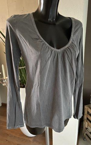 Closed Koszulka z dekoltem w kształcie litery V szary Bawełna