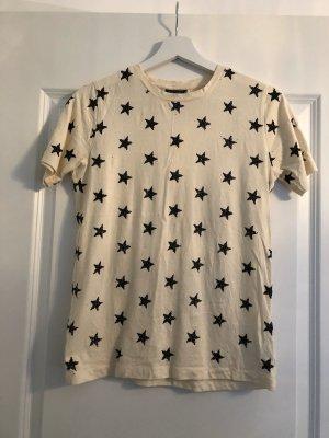 Topshop T-shirt noir-crème