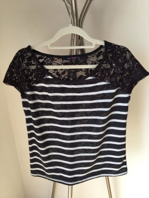 Bershka T-shirt noir-blanc tissu mixte