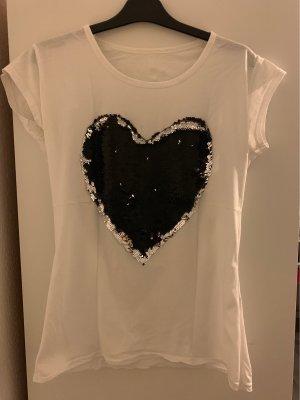 Tshirt mit Zweifarbigem Pailletten-Herz
