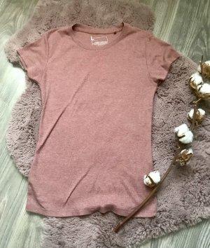 Prążkowana koszulka bladofiołkowy-stary róż
