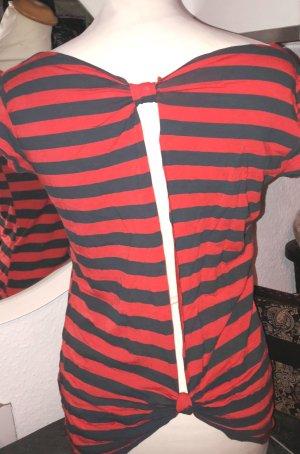 Tshirt Rückenfrei rot/schwarz-gestreift